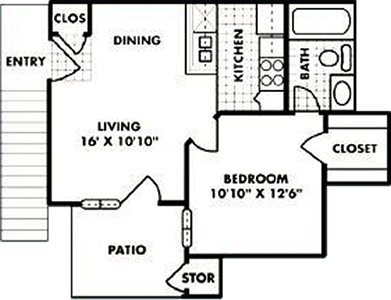 A0 - One Bedroom / One Bath - 456 Sq. Ft.*
