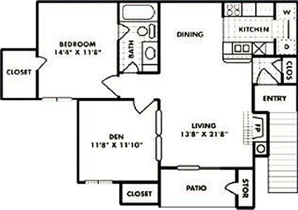 A3 - One Bedroom / One Bath / Den - 841 Sq. Ft.*