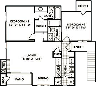 B1 - Two Bedroom / Two Bath - 941 Sq. Ft.*